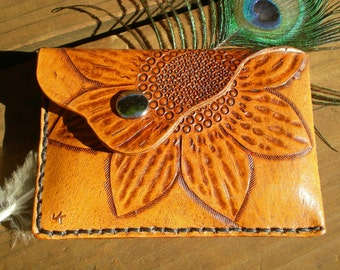 Handmade tooled leather slim wallet, credit card wallet, coin pouch, pocket wallet, leather wallet, sun flower design