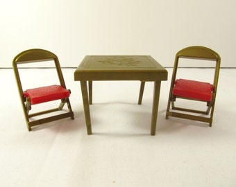 Vintage Renwal Gold Card Table and 2 Chairs, Renwal 108 109 Card Table and Chairs Renwal Doll House Furniture, Ideal Marx Doll Furniture S22