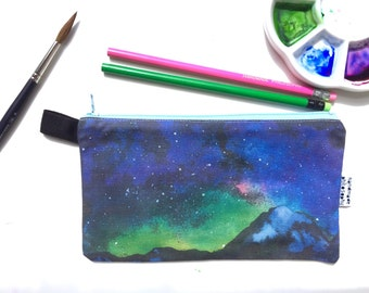 Mountain and Starry Night Divided Pencil Case (handmade philosophy's painting)