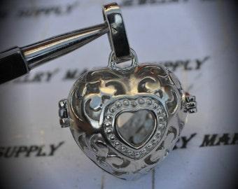 Heart Filigree Design Prayer Box Locket in Silver Plated Three Dimensional Pendant Charm