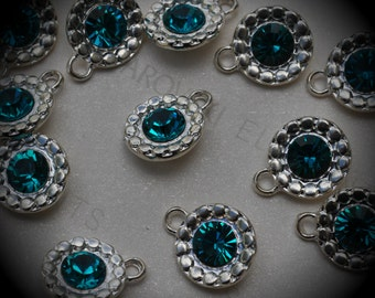 Genuine Silver Plated Swarovski Crystal  Daisy Flowers Charms In Blue Zircon