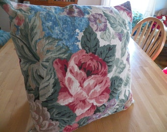 Beautiful BarkCloth Pillow with Pink Floral Pattern