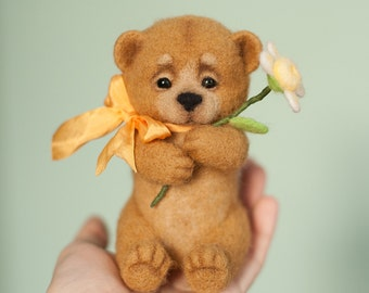 Needle felted soft sculpture teddy Bear Tony
