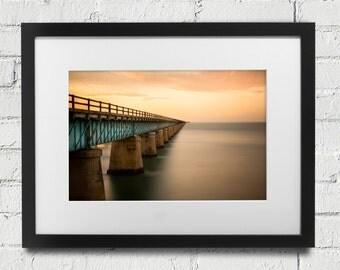 Seven Mile Bridge Photography - Marathon Florida - Key West  Sunset- 7 Mile Bridge Sunset  Fine Art  Photo