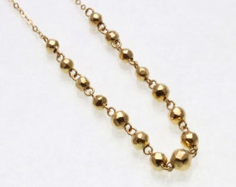 "Vintage 14k yellow gold ball chain necklace diamond cut 16 1/2"" Estate"