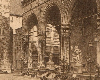 Antique Engraved Italian Souvenir Postcard 1890s GOOD Posted Condition UNDIVIDED Loggia Del Orcagna