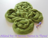 Dyed Merino Top from Ashland Bay - 2 oz of Extra-Soft 19.5 Micron Combed Top for Spinning or Felting in Thyme - Medium Green Merino Top