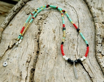 Gypsy Feather Necklace,gypsy necklace, beaded necklace,tribal necklace, ethnic necklace, hippie necklace