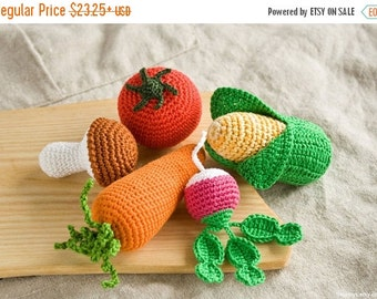 SALE Crochet Baby Rattles Veggies, Set of 5 - mushroom, corn, radish, tomato, carrot - eco friendly crochet toys