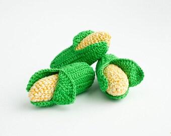 Crochet Corn (1 pc) - baby rattle, play food, pretend play - eco-friendly toys by FrejaToys