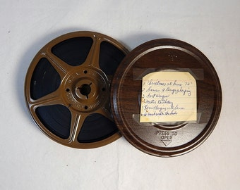 Vintage Movie Canister and Reel Dual 8 Brown Woodgrain 1970's with Film Home Theater Decor #2
