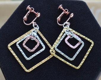 Pretty Vintage Tri-Color Geometric Dangle Clip/Screw back Earrings (178D0
