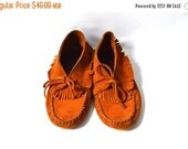 ON SALE Bohemian Rust Brown Suede Moccasins Size 8 Men 9.5 Women Ankle Boots/Booties