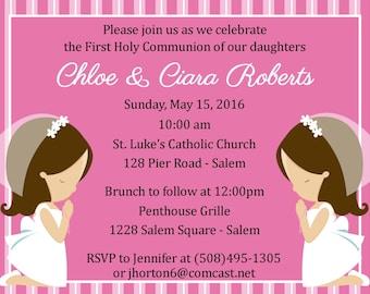 First Communion Invitation - Twins  (Digital File) / Girls First Communion Invitation / Two Girls First Communion / Two Boys First Communion