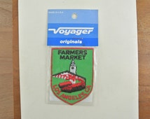Vintage Farmers Market Los Angeles CA Patch | Souvenir Travel Woven Badge Embroidered Sew On Patch | 80's Voyager Patch