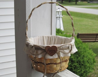 Personalized Custom Rustic Flower Girl Basket For Your Country Woodland Wedding