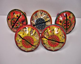 Vintage Lot of 5 Metal Noisemakers Noise Makers Tin Litho Toy NoiseMakers