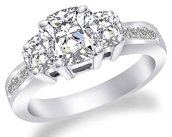 GIA Certified Diamond Engagement Ring Cushion Cut 2.45ctw 14k White Gold
