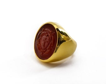 Rosicrucian Ring Red Agate Carved Genuine Gemstone Gold Plated Sterling Silver 925