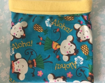 Aloha Monkeys Flannel with Yellow Fleece Snuggle Bag