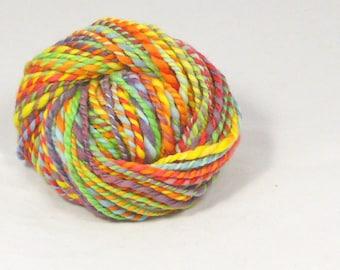 Rainbow 2 ply fractal spun merino Hand spun yarn.  hand dyed Pure Australian wool yarn.