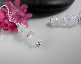 Rainbow Moonstone Earrings, Bridesmaid Earrings, Wedding Earrings, Blue Flash Moonstones, Dangle Earrings, Mystical Moon Designs