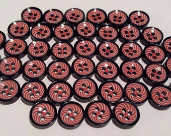 """20 Red & White Candy Stripe Design Black Shirt Buttons, 4 holes, bulk buttons, size 7/16"""", 11mm, 18L"""
