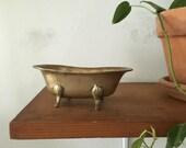 vintage brass bathtub planter. hollywood regency mid century claw foot tub planter. glam boho planter air plant novelty planter soap dish