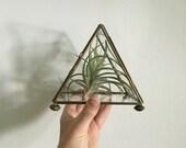 RESERVED FOR TRAN geometric terrarium boho glass trinket box. geometric triangle glass brass curio. glass and brass box. pyramid brass glass