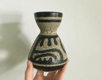 vintage eames era lapid of israel modernist vessel. mid century fat lava glaze mid century modernist pottery vase vessel. mad men retro vase