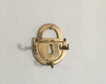 brass hollywood regency mid century lock key hook. regency gold brass padlock key hook. brass hook interior design boho decor industrial