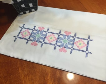 Vintage White Pillowcase with a floral cross stitch design for housewares, bedding, decor by MarlenesAttic