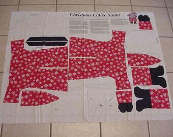 Vintage  Christmas Calico Santa Fabric Panel, Sew & Stuff, Stuffed Doll, Holiday Decoration, Christmas