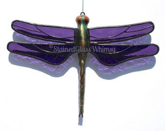 Stained Glass DRAGONFLY Suncatcher, Purple / Amethyst / Grape Textured Wings, Handcast Metal Body, USA Handmade, Purple Dragonfly, Violet
