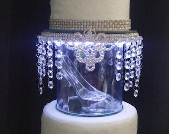 Glass slipper Cinderella inspired wedding  cake topper