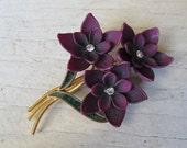 Vintage purple flower brooch