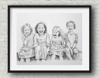 Pencil Portrait - hand drawn  from your Photo 4 subjects custom artwork