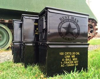 BLACK Engraved Ammo Box Groomsmen Gift Ideas Best Man Laser Can