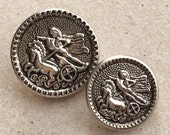 mother-daughter silver tone shank metal nos vintage buttons with roman or greek chariot rider design--matching lot of 2