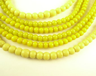 3 strands matched 5-6 mm yellow prosser pressed glass African trade beads old