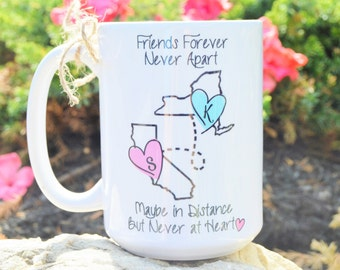 STATE to STATE Long Distance Mug - 2 States - 2 Names - Color and Quote, Friends Forever