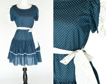 Vintage 1970's Blue and White Midi Dress - Cute Drop Waist Ruffle Prairie Style Dress - Ladies Size Small