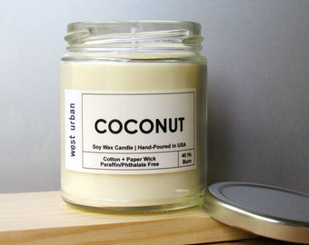 Soy Candle, Scented Jar, Home Decor, Gift, Container Candle, COCONUT
