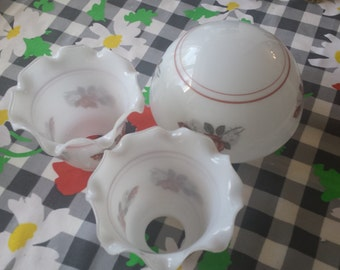 Vintage glass dome light cover rose pattern with two small glass shades pretty pattern.