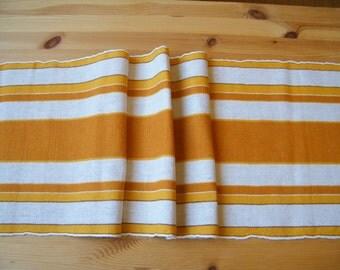 Vintage Swedish Hand Woven Table Runner Table Linens Swedish Folk Art -Christmas table linens -  Cotton Linen  Yellow stripes