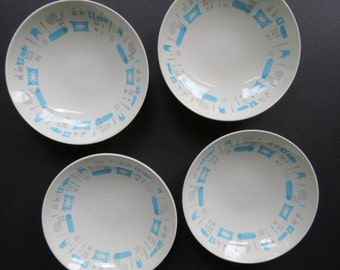 Blue Heaven Soup Bowls // Vintage Set of Four Mid Century Modern Style Atomic Era Shallow Bowls Soup Salad Cereal Royal China 1950's Aqua