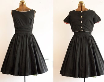 1950's Black Bobbie Brooks Sun Dress and Jacket / Small