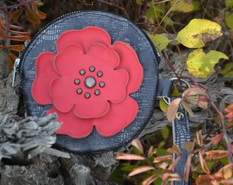 Lizard Print Round Leather Wristlet & Pink Lemonade Flower- Soft Leather Purse - One Of A Kind - Handmade - Gifts for Her