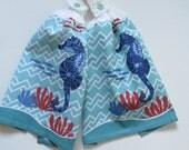 Seahorse Crochet Top Kitchen Hand Towel Set of 2