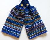 Blue Glass Crochet Top Kitchen Hand Towel Set of 2